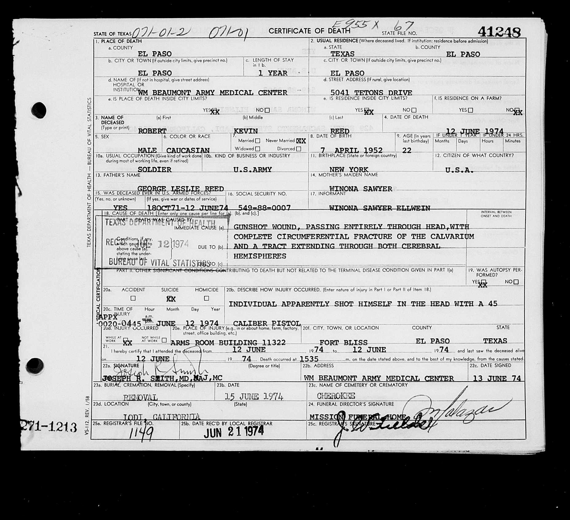 Sources robert kevin reed texas deaths 1890 1976 june 12 1974 el paso el paso county tx 41248 certificate number 41248 gs film number 2243199 digital aiddatafo Images
